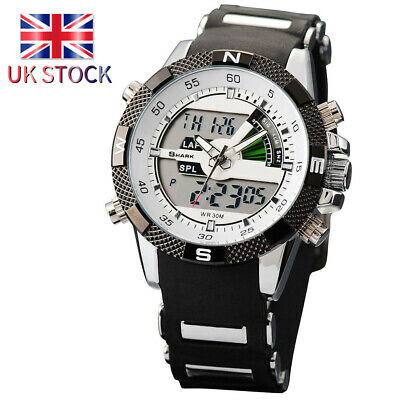 Shark Men's Digital Quartz Wrist Watch Sport Army Date Day LCD Silicone Y2U6L