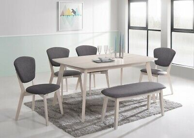 7-piece Scandinavian Dining Set Table Chair Solid Rubberwood Designer