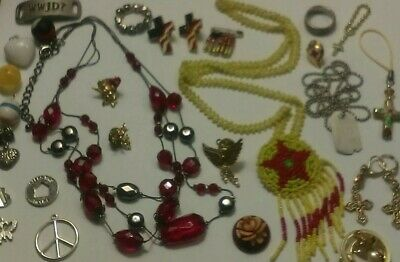 Low Starting Bid Junk Drawer Lot Necklaces Craft Resell Wear  Religious Pieces