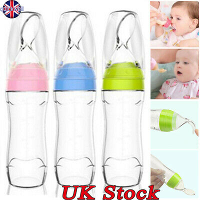 120ML Infant Baby Silicone Squeeze Feeding Bottle Spoon Food Rice Feeder Tool UK