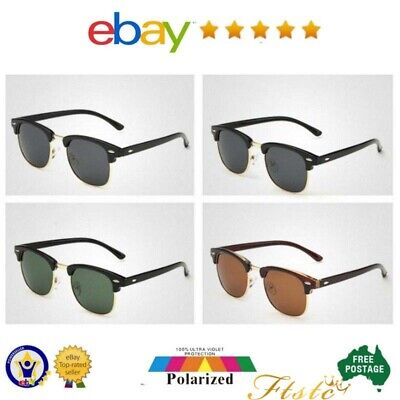 Vintage Clubmaster Sunglasses Polarised New style Half Frame Polarized Lense AUS