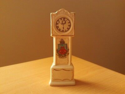 """Vintage Crested China Miniature Grandfather Clock """"clacton On Sea"""""""