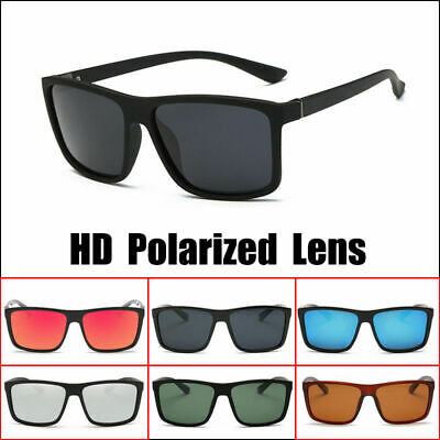 New Black Square Frame Polarized Sunglasses Driving Mens Designer Retro-Eyewear