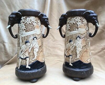 BEAUTIFUL LARGE PAIR of BRETBY POTTERY ORIENTAL STYLE VASES