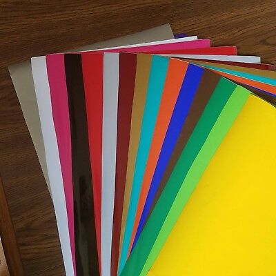 "15 Sheets of Multi Colored 12""x24"" Oracal 641/651 Craft Adhesive Backed Vinyl"