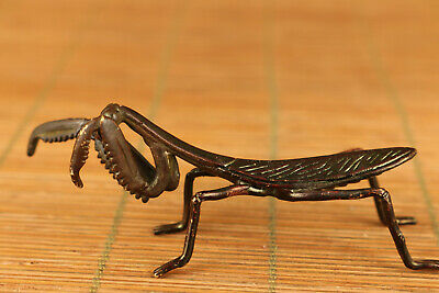 Big Rare Chinese Bronze hand carving mantis statue collectable ornament