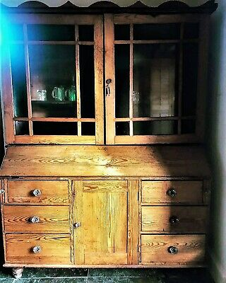 A Fabulous Large 19th Century Yorkshire Pine Estate Cupboard/Dresser