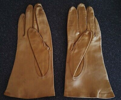 Genuine vintage tan leather gloves made in England size 7