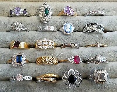 Lot Of 20 Vintage To Modern Costume Jewelry Cocktail Rings Various Sizes Styles