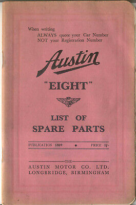 Austin Eight 8 original illustrated Spare Parts List 1939 Pub. No. 1809