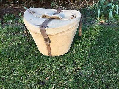 Antique Canvas Vintage Leather Top Hat Box Old Suitcase Shabby Chic Film Prop