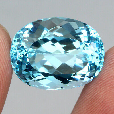 Clean 24.33ct. 19x14.5mm. Oval Cut 100%natural Top Sky Blue Topaz Brazil Elegant