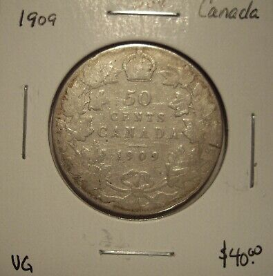 Canada Edward VII 1909 Silver Fifty Cents - VG