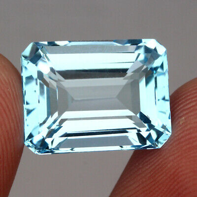 Clean 18.85ct. 16.5x13mm. Octagon 100%natural Top Sky Blue Topaz Brazil Elegant!