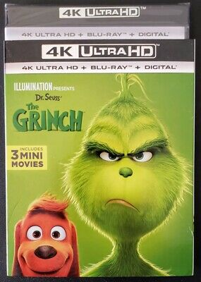 Dr. Seuss' The Grinch (2018) 4K + Blu-Ray, 2-Discs ✔☆Mint☆✔No Digital✔Slipcover