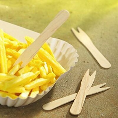 Wooden Chip Shop Chippy Forks - 25, 50, 100 & 200 - FREE P&P - Parties, BBQ etc
