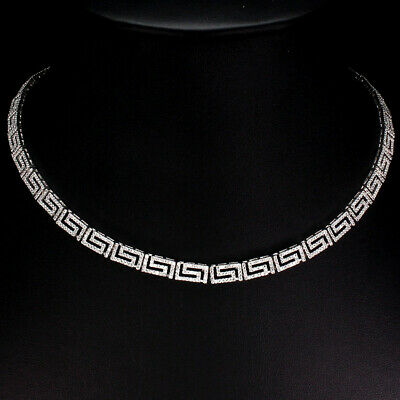Round Aaa White Cubic Zirconia 14k White Gold Plate 925 Sterling Silver Necklace