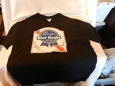 b44fcc396 Men's Brujos Blue Rugby Beer Albuquerque, NM Logo Graphics Black T-shirt  Small