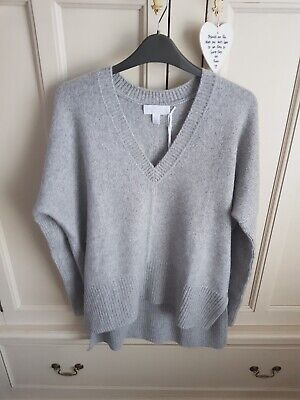 The White Company 100% cashmere chunky v neck jumper, size 10, silver grey marl
