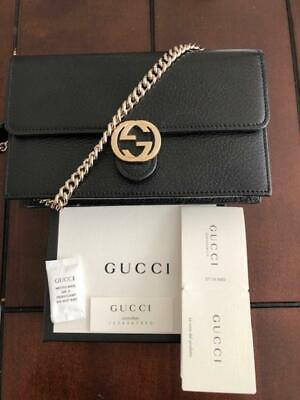 394ab2600dc186 GUCCI PADLOCK CONTINENTAL Wallet With Chain Black NEW - $925.00 ...
