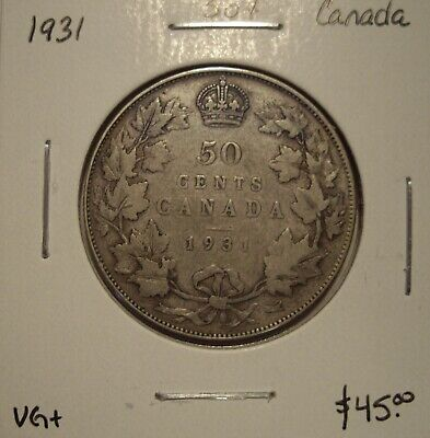 Canada George V 1931 Silver Fifty Cents - VG+
