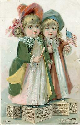 1889 Scott's Emulsion*the Twins*patriotic*american Flag*knapp Litho*trade Card