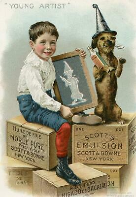 1897 Scott's Emulsion*young Artist*boy & Dog*giles Co Litho*victorian Trade Card