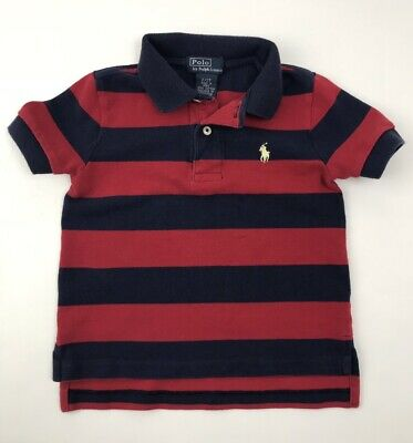 Polo Ralph Lauren Polo Shirt Navy Blue Red Striped Pony Toddler Boy Size 2 2T