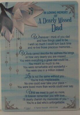 Memorial Grave Card In Loving Memory of a Dearly Missed Dad 15cm x 10.5cm