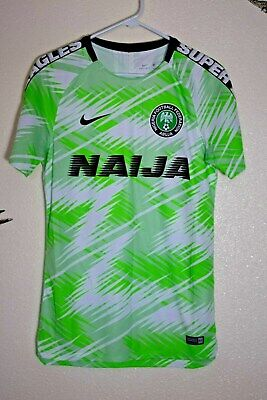 Nike Mens Nigeria Squad Pre-Match Jersey Small 2018 World Cup Training New  Home 893003c58