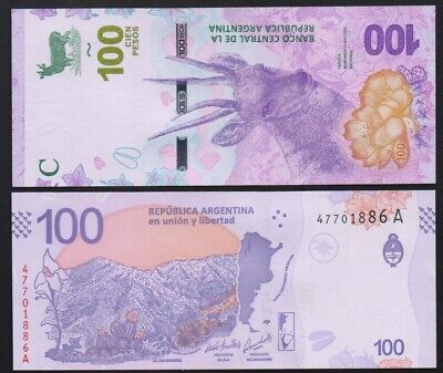 Argentina – P#new 100 Argentinian Pesos ,2018 Series A UNC Banknote.