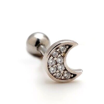 2pcs 16G Stainless Steel Moon CZ Cartilage Stud Earrings Auricle Helix Piercings