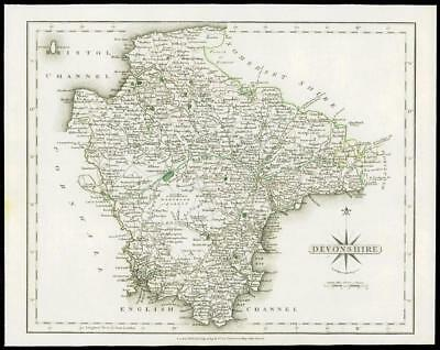 1793 Original Antique MAP of 'DEVONSHIRE' by John Cary Outline Colour (12)