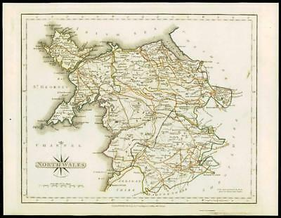 1793 Original Antique MAP of 'SOUTH WALES' by John Cary Outline Colour (49)