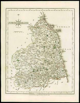 1793 Original Antique MAP of 'NORTHUMBERLAND' by John Cary Outline Colour (29)