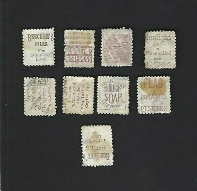 NEW ZEALAND (1893) Group of 9 with Advertisement on the Backs