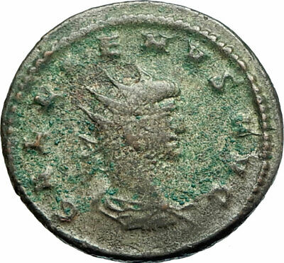 GALLIENUS son of Valerian I 266AD Authentic Ancient Roman Coin Sol Sun i76055