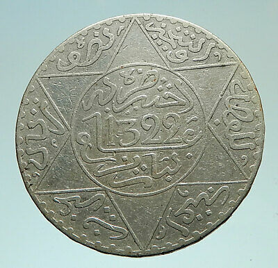 1904 or 1322AH MOROCCO with Star of David Genuine Silver 1/2 Rial Coin i76020
