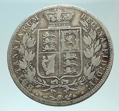 1882 UK Great Britain United Kingdom QUEEN VICTORIA Genuine Silver Coin i75951