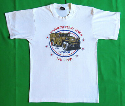 U.S. Army Vintage T Shirt 80's 90's Military World War II Scout Car 1941-1991