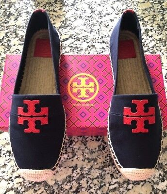 f181f03308f3 NEW Tory Burch Weston Flat Espadrille Canvas   Calf Leather Navy   Red Size  7