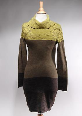 31766be482e NWT Gianni Bini Yellow Brown Combo Cotton Turtle Neck Sweater Dress Size S
