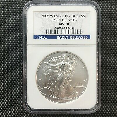 """2008-W American Silver Eagle Burnished NGC MS70 Reverse of 2007 """"EARLY RELEASES"""""""