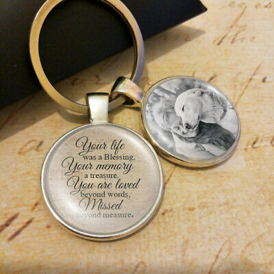 Memorial Pet Lose Blessing Remembrance Charm Dog Cat Photo Personalized Keyring