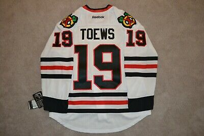 b18e71a50 🌟Authentic CHICAGO BLACKHAWKS JONATHAN TOEWS Jersey White 50 Reebok Edge  7231🌟
