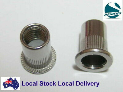 "Qty 10 1/4"" UNF Flange Nutserts Stainless Rivet Nut Rivnut Nutsert Grip 5mm"