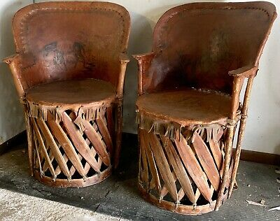 Vintage Mexican Equipale Chairs Pair Early Old Folk Art Southwest Furniture Rare