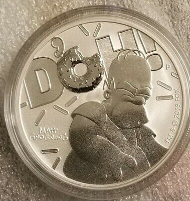 2019 Homer Simpson 1 oz .9999 pure Silver Dollar Coin Matt Groening the Simpsons