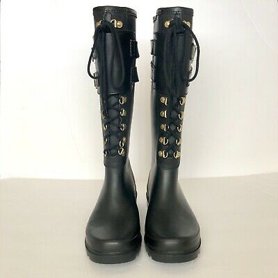 934cbda5b80 Tory Burch Black Lace-Up with gold buckles Rain Boots Size 9 (Retail  225