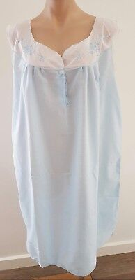 Vintage 80s Australian Made BLUE Cotton Blend FLORAL Embroidered NIGHTIE size 14